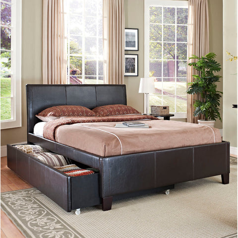 Standard Furniture New York Upholstered Trundle Bed in Brown