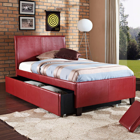Standard Furniture New York Upholstered Trundle Bed in Red