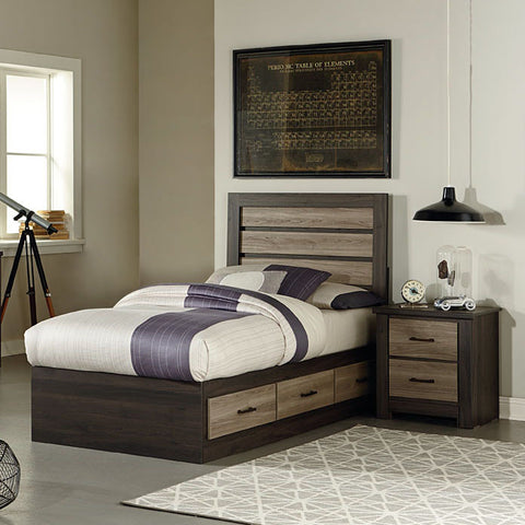 Standard Furniture Oakland 2 Piece Captain's Bedroom Set in Dark Weathered Oak & Gray Birch