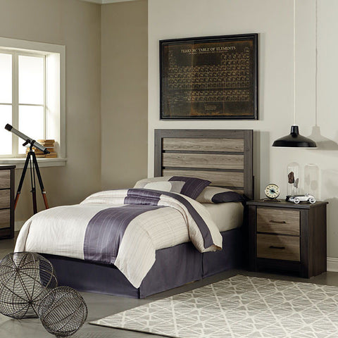 Standard Furniture Oakland 2 Piece Kids' Headboard Bedroom Set in Dark Weathered Oak & Gray Birch