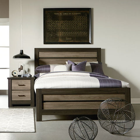 Standard Furniture Oakland 2 Piece Kids' Panel Bedroom Set in Dark Weathered Oak & Gray Birch