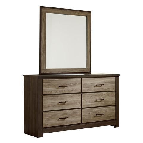 Standard Furniture Oakland 6 Drawer Dresser & Mirror in Dark Weathered Oak & Gray Birch