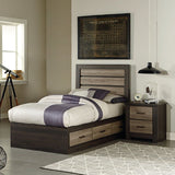 Standard Furniture Oakland Twin Captain's Bed in Dark Weathered Oak & Gray Birch