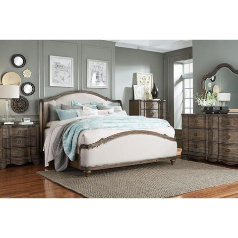 Standard Furniture Parliament 4 Piece Upholstered Platform Bedroom Set in Dusty Brown