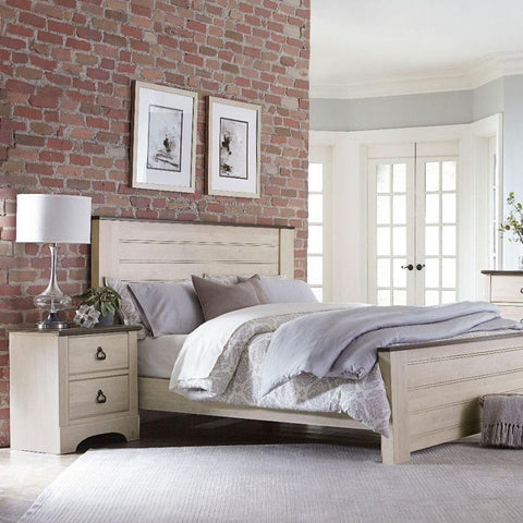 Standard Furniture Rivervale 2 Piece King Panel Bedroom Set in White Distressed