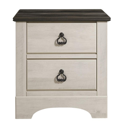 Standard Furniture Rivervale White Distressed 2-Drawer Nightstand