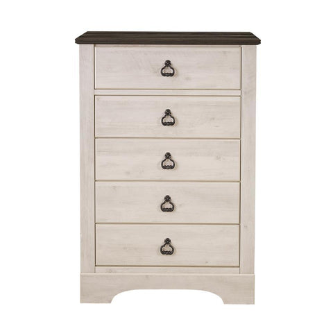 Standard Furniture Rivervale White Distressed 5-Drawer Chest