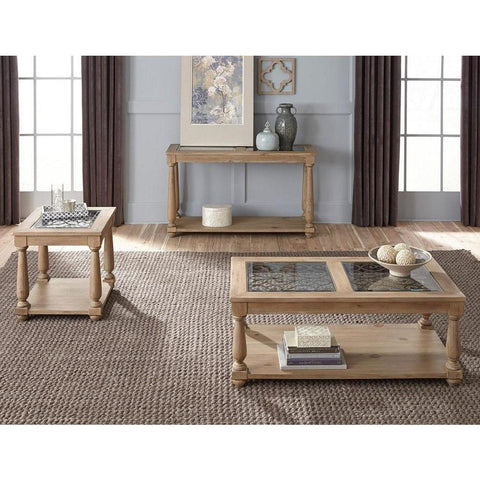 Standard Furniture Savannah 3 Piece Glass Coffee Table Set in Brown