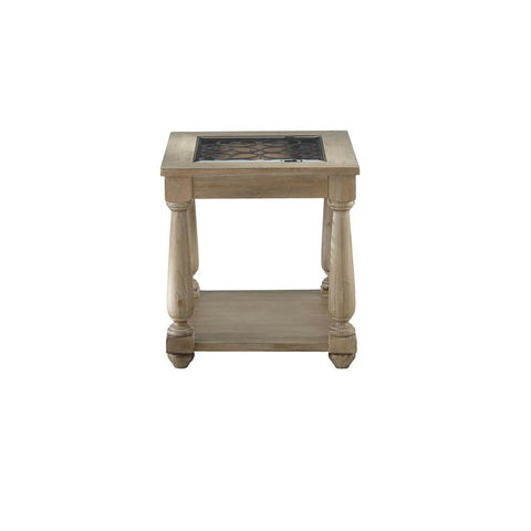 Standard Furniture Savannah Distressed Glass End Table in Brown