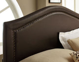 Standard Furniture Simplicity Camal Back Upholstered Headboard in Brown Leather