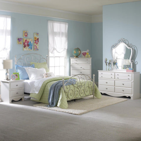 Standard Furniture Spring Rose 3 Piece Bedroom Set in White