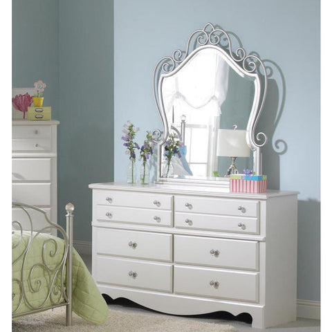 Standard Furniture Spring Rose Dresser w/ Mirror in White