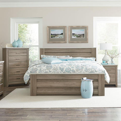 Standard Furniture Stonehill 3 Piece Mansion Bedroom Set in Weathered Oak