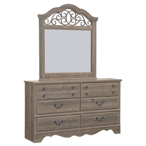 Standard Furniture Timber Creek 6 Drawer Dresser & Mirror in Taupe