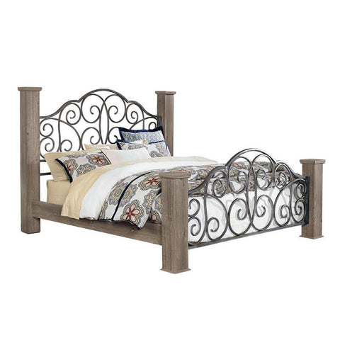 Standard Furniture Timber Creek Metal Poster Bed in Taupe