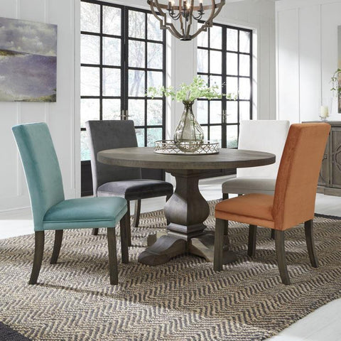 Standard Furniture Trenton 5 Piece Round Dining Room Set in Brown