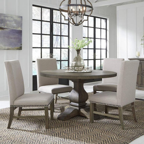 Standard Furniture Trenton 5 Piece Round Dining Room Set w/Beige Chairs