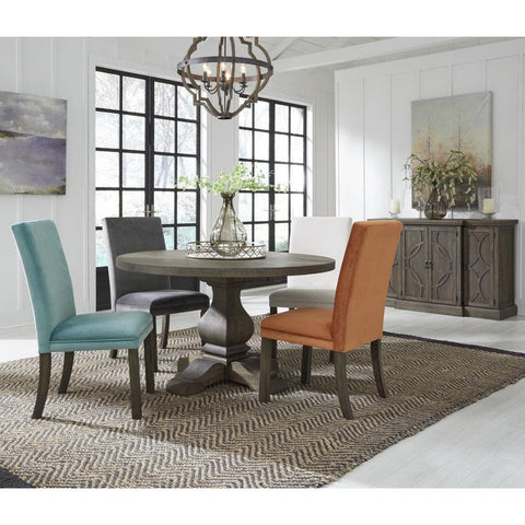 Standard Furniture Trenton 6 Piece Round Dining Room Set in Brown