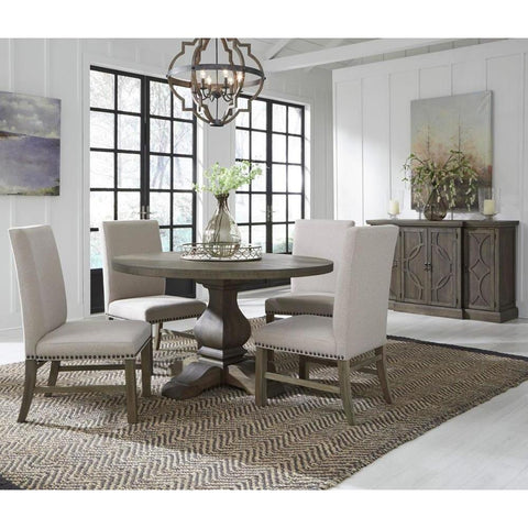Standard Furniture Trenton 6 Piece Round Dining Room Set w/Beige Chairs