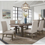 Standard Furniture Trenton 7 Piece Brown Trestle Dining Rom Set w/Beige Chairs