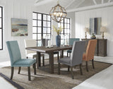 Standard Furniture Trenton 8 Piece Brown Trestle Dining Rom Set w/Beige Chairs