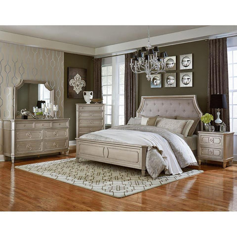 Standard Furniture Windsor Silver 4 Piece Panel Bedroom Set in Silver