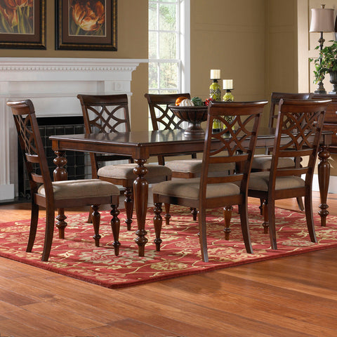 Standard Furniture Woodmont 7 Piece Leg Dining Room Set in Cherry