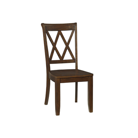Standard Vintage Cross Back Side Chair Pair Brown