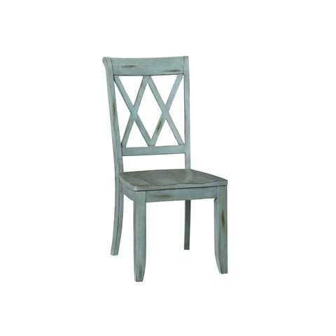 Standard Vintage Side Chair Cross Back Pair In Blue