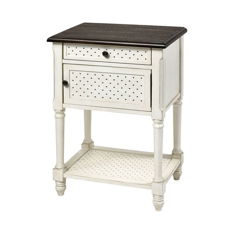 Stein World Hartford 1-Door 1-Drawer Accent Table -  White with Dark Top