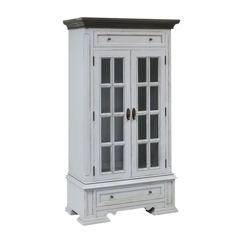 Stein World Hartford 2-Door 2-Drawer Cabinet with 3 Inner Shelves in Light Grey with Dark Grey Top