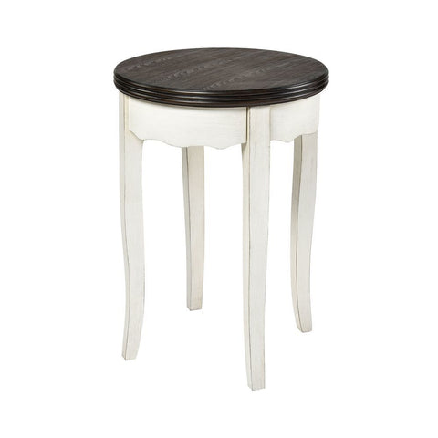 Stein World Hartford Round Accent Table - White with Dark Top