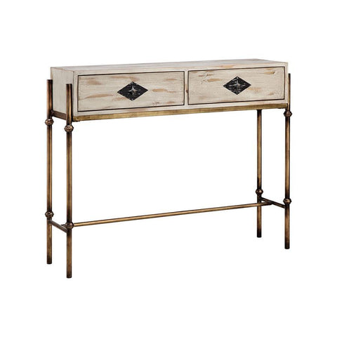 Stein World Telsa Console Table in Burnished Gold & Hand-Painted & White & Burnished Bronze