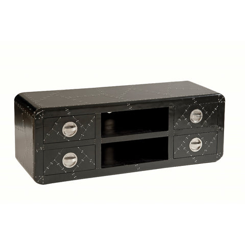Stein World Zeppelin Black Aluminum Media Console