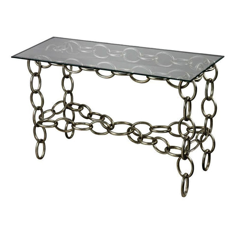 Sterling Erin Silver Chain Console Table With Clear Glass Top