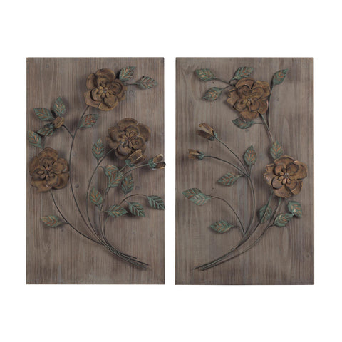 Sterling Industries 137-015/S2 Finningley-Set Of 2 Wooden Wall Panel w/ Handpainted Metal Flowers