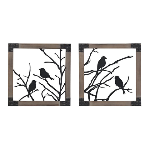 Sterling Industries 137-018/S2 Ollerton-Set Of 2 Birds On A Branch In Natural Wood Tone Frame