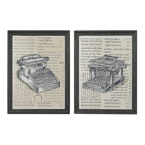 Sterling Industries 26-8663/S2 Set Of 2 Antique Typewriter Prints On Glass