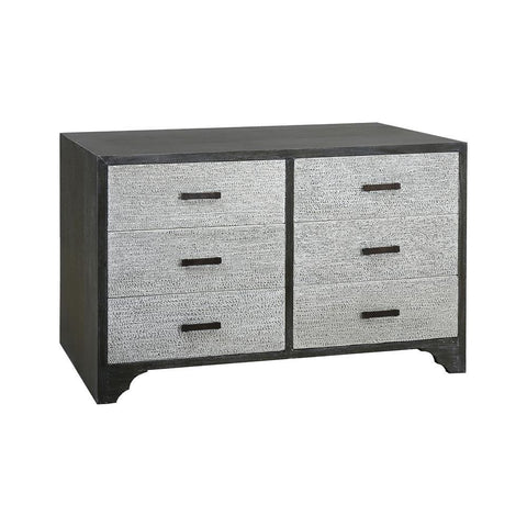 Sterling Industries Chimney Corner Washed Grey MDF 6-Drawer Chest with Solid Mahogany Veneers