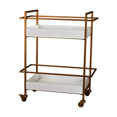 Sterling Kline Gold And White Bar Cart