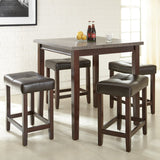 Steve Silver Aberdeen 5 Piece Counter Height Table Set w/ Dark Brown Stools in Rich Brown