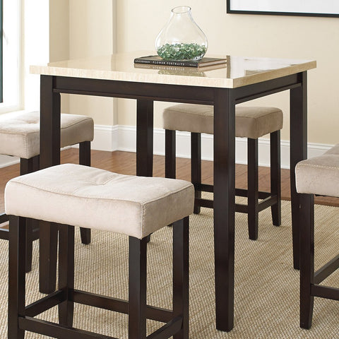 Steve Silver Aberdeen 5 Piece Counter Height Table Set w/ Faux Marble Laminate Top