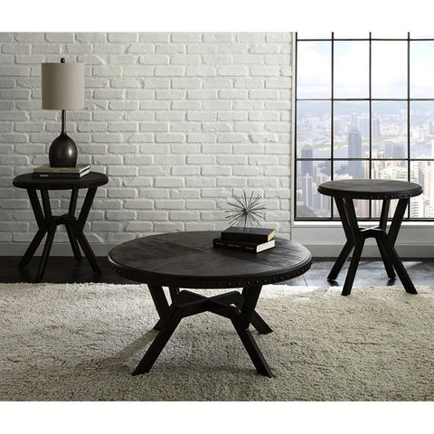 Steve Silver Alamo 3 Piece Round Coffee Table Set in Gray