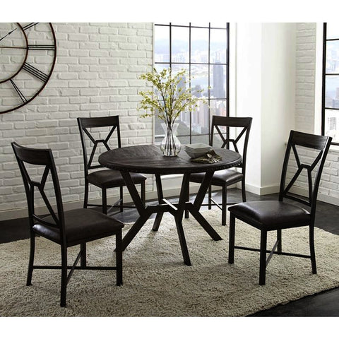 Steve Silver Alamo 5 Piece Round Dining Room Set in Gray