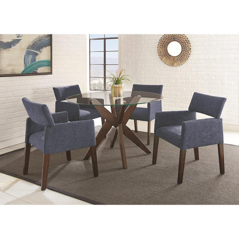 Steve Silver Amalie 5 Piece Dining Set In Blue Chairs