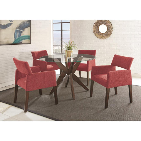 Steve Silver Amalie 5 Piece Dining Set In Red Chairs