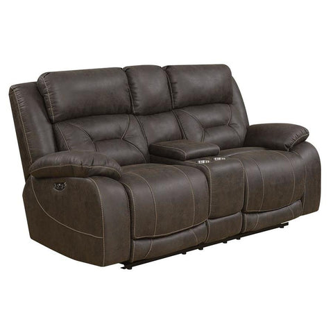 Steve Silver Aria Power Recliner Loveseat w/Console & Power Head Rest in Saddle Brown