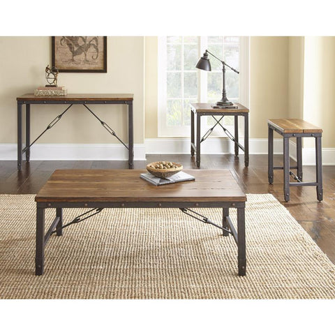 Steve Silver Ashford 4 Piece Rectangular Coffee Table Set in Antiqued Honey