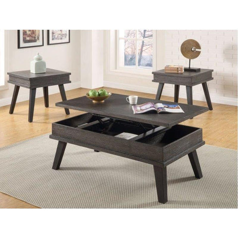 Steve Silver Bakersfield 3 Piece Lift Top Coffee Table Set in Wire Brushed Dark Oak