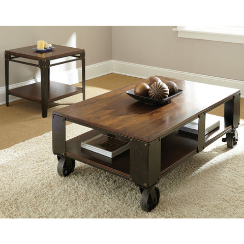 Steve Silver Barrett 2 Piece Coffee Table Set w/ Casters in Distressed Tobacco